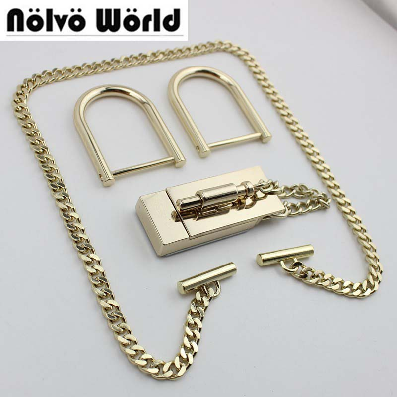 5 Sets High Quality Quare Lock Handmade Woman Bag Chain D Ring Briefcase Lock For Genuine Leather Hardware Accessories