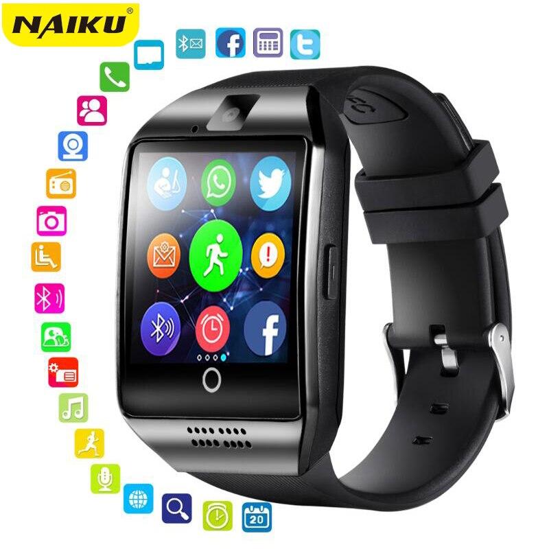 Relógio inteligente de naiku com câmera, q18 bluetooth smartwatch sim tf slot para cartão de fitness atividade rastreador esporte relógio para android
