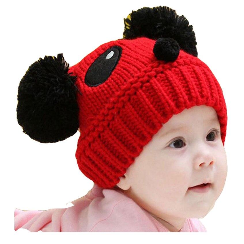 Cute Kids Baby Girls Boys Knitted Beanie Knit Warm Cute Panda Hat Pompoms Cap