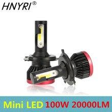 HNYRI фар Мини H7 H4 H11 9005 9006 HB3 HB4 100 W 20000LM авто туман лампочки внедорожник головы лампы 6000 K супер-лампы белого цвета P6