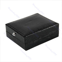 1PC Black Faux Leather Cufflinks Box Gift Storage Case Display Cuff Holder New