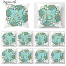 Fuwatacchi  Alphabet A-Z Print Throw pillows Cover Polyester Flower Letter Sofa Chair Home Car Decor Accessories Pillow Case