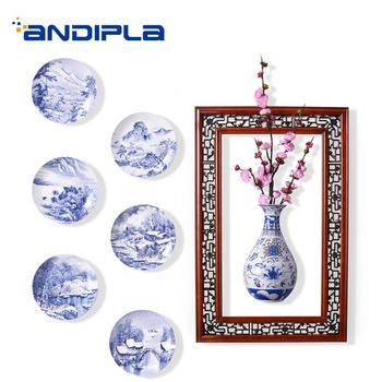 Chinese Style Blue and White Porcelain Plate Wall Decoration Hand Painted Vintage Pattern Wall Hanging Dish Flower Vase Crafts