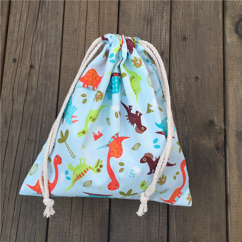 YILE 1pc Cotton Drawstring Pouch Party Gift Bag Home Bag Print Color Dinosaur Light Blue YL04