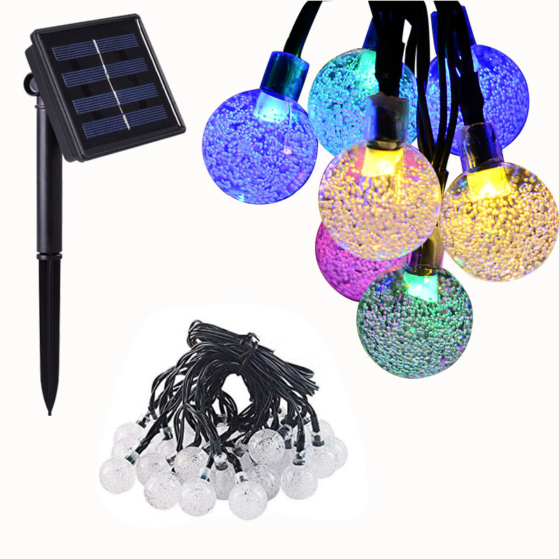 12M 100LED Solar Outdoor Crystal Ball String Light Waterproof Garden  Copper Wire Christmas Garland Party Wedding Decoration