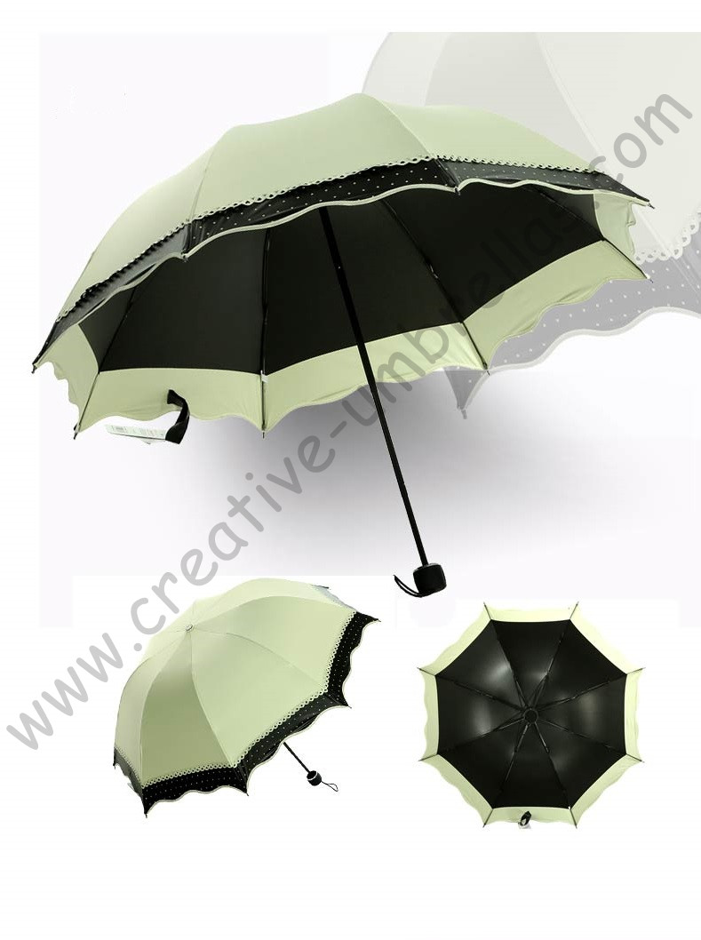 Click here to Buy Now!! 5pc lot colour option summer folding mini sunny  umbrella 5 times black coating Anti-UV Rice Yellow two layers lace parasol e4919e2f546e7