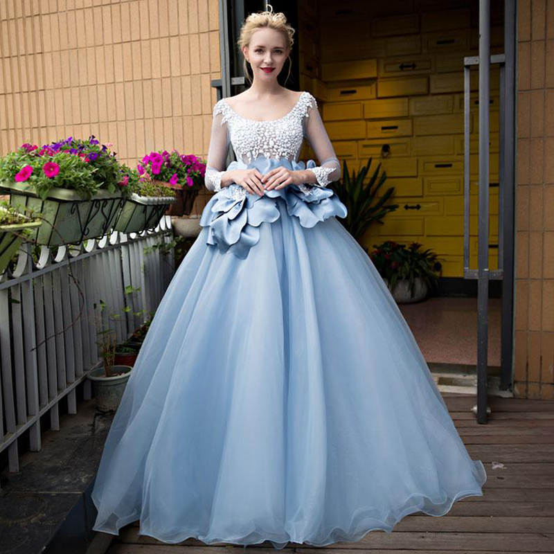 China Long Sleeves Wedding Dress Custom Made Lace Princess: Aliexpress.com : Buy Cinderella Long Sleeve Wedding Dress