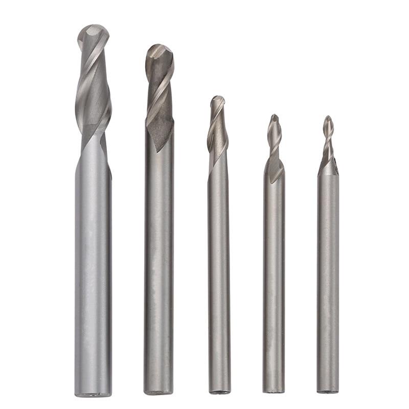 HSS 2 Flute Ball Nose End Mills Straight Shank R1.5/2/3/4/5 Mill Cutter Lathe Cutter CNC Bit Tool 16mm hss e morse taper shank spiral 3 flute end mill cutter drill bit cnc tool