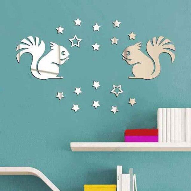 Two Little Squirrels Mirror Wall Stickers Baby Room Pegatinas De