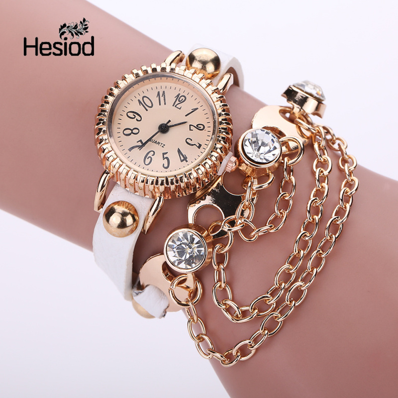 Hesiod Brand 11 Color Crystal Women Gold Chain Bracelet Quartz Wristwatch Shiny Rhinestone Clock Ladies Dress Charm Watches