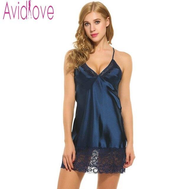 e74d08b96 Avidlove العلامة التجارية ملابس خاصة النساء نوم مثير البسيطة قمصان النوم  العميق V الأشرطة التنانير الصيف