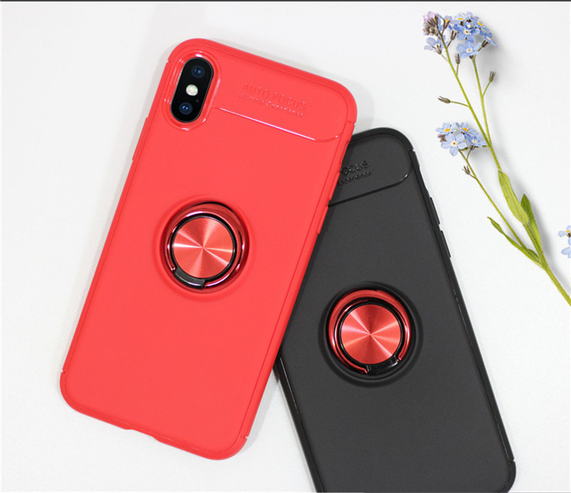 For iPhone 8 Plus Case Soft Silicone Phone Case with Ring For iPhone 7 6s Plus or iPhone 6 x xr xs max Color Full Protective in Fitted Cases from Cellphones Telecommunications