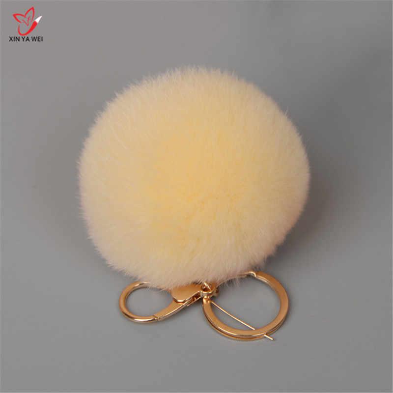 16 cor Chaveiros Trinket Chaveiro Bola De Pêlo De Coelho Pompom Pele Real Do Saco Bonito Fluffy Rabbit Fur Pompom Pingente Acessórios