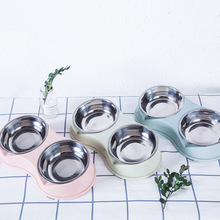Dog Bowl Double Stainless Steel Feeding Feeder Water Bowl Stainless Steel Pet Cat Puppy Food Bowl Water Dish Pets Supplies new dog cat bowls stainless steel food bowl travel feeding feeder water bowl anti skid dry food pet bowl drinking water dish