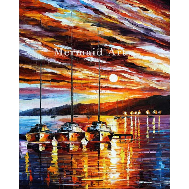 Hand Painted Oil Painting In Expectation Of Wind On Canvas For Abstract Palette Knife Painting Living Room Wall Decor Artwork