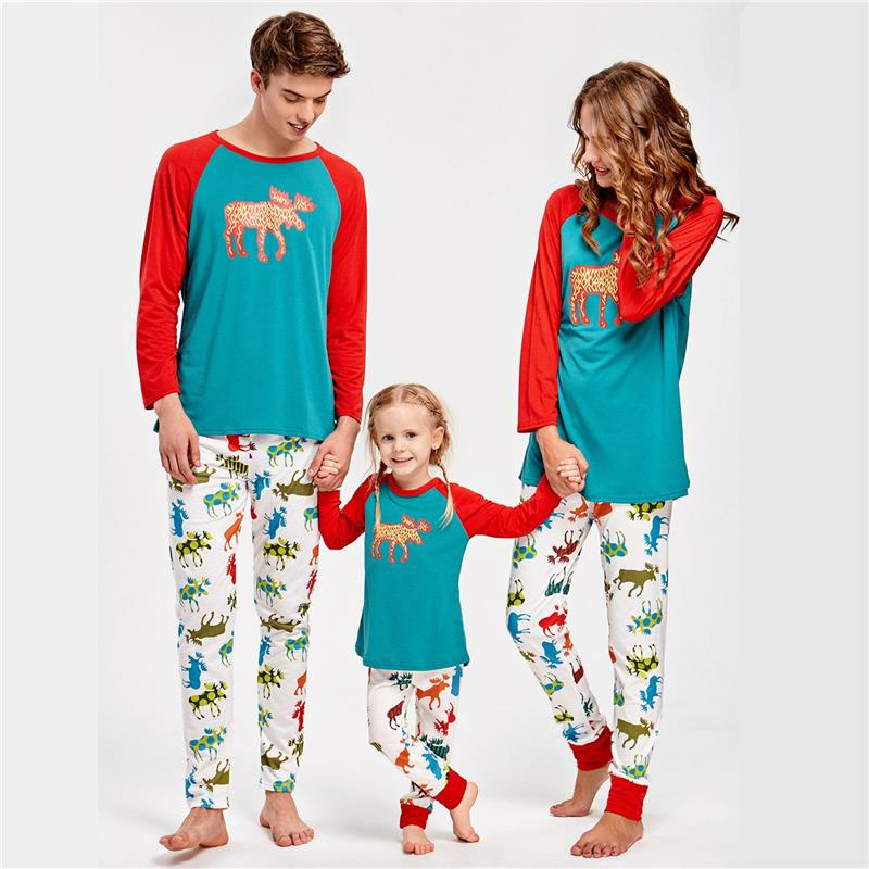 c92b887499 Deer Printed Costume Christmas Pajamas Set Elf Sleepwear Cotton Nightwear Lovely  Family Matching Clothes
