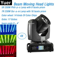 4XLot 230W 7R Sharpy Beam Moving Head Lights Beam 200W Beam 5R Moving Head Gobo Lights 16/8 Facets Prism For Stage Theater Disco