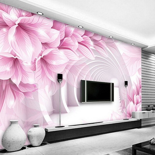 Custom Wall Mural Wallpaper Modern Minimalist 3D Stereo Space Flower ...
