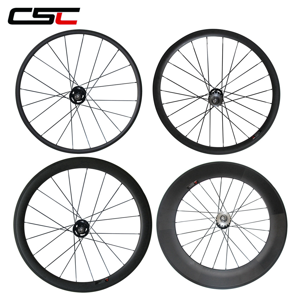700C Carbon Track bike wheelset 24 38 50 60 88mm deep Clincher Tubular Flip Flop fixed