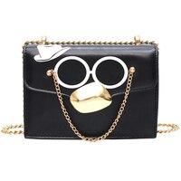 Модные очки Маленькая квадратная сумка через плечо сумка клатч металлическая цепочка женский дизайнерский кошелек сумки черный Bolsos Mujer