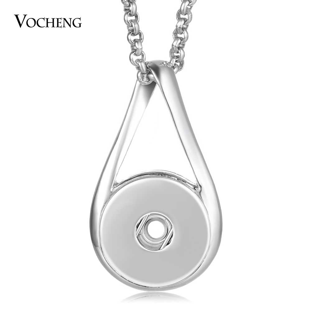 10pcs/lot Wholesale Vocheng Snap Button Charms Necklace Ginger Snap Jewelry 18mm with Stainless Steel Chain NN-628*10
