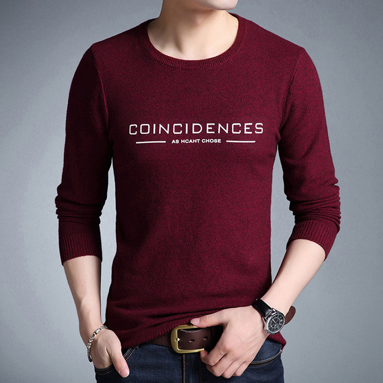 Mwxsd Brand 2019 fashion pullover sweaters Simple style O neck sweater jumpers Autumn Thin male knitwear Plus M-4XL 4