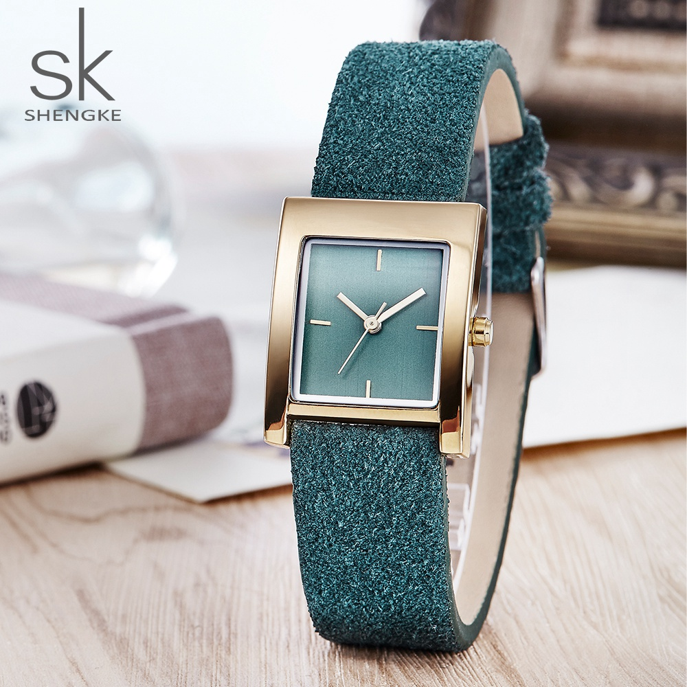 SK Brand Genuine Leather Quartz Watch Lady Watches Women Luxury Antique Stylish Square Dress Watch Relogio Feminino Montre Femme