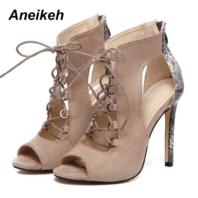 afd2c47079e10 Aneikeh 2018 Spring Woman Shoes Snake Grain Splicing Strap Sandals Fashion  Show 35-42 Rome High Heel Sandals Sexy Party Pump