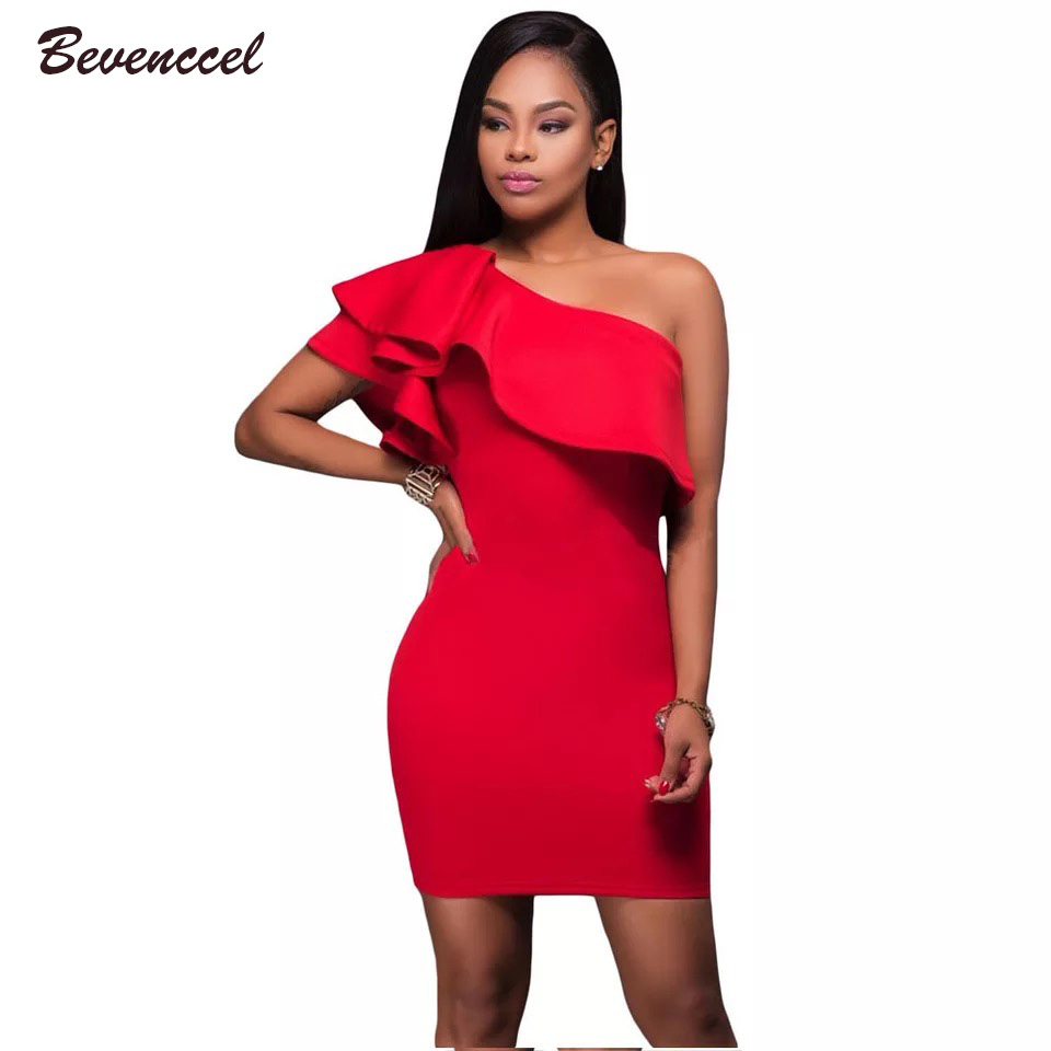 2018 New Chic Solid Black Red Blue Women Sexy One Shoulder Ruffles Bodycon Celebrity Party Mini Vestidos Bandage Dresses