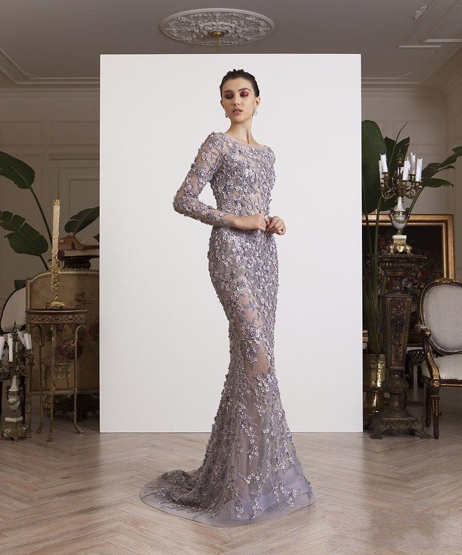 Luxurious Muslim Evening Dresses 2019 Mermaid Long Sleeves Flowers Pearls Islamic Dubai Kaftan Saudi Arabic Long