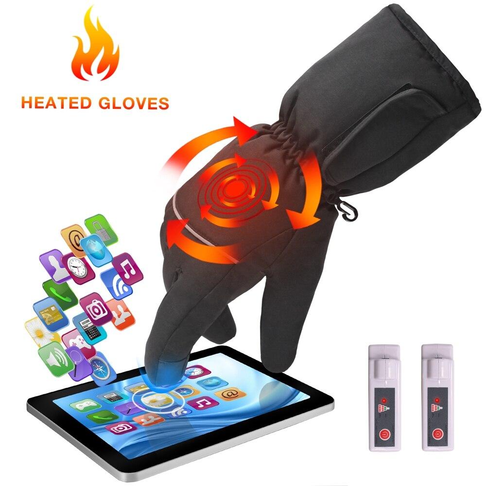 Electric <font><b>Heated</b></font> <font><b>Gloves</b></font> Touch Screen Unisex Waterproof Warm Winter <font><b>Gloves</b></font> With Rechargeable <font><b>Battery</b></font> For Woman Man