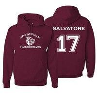 Mystic Falls Timberwolves Vampire Diaries Salvatore 17 Hoodie Women Men Long Sleeve Fleece Pullovers Sweatshirt Hoody 2018 New