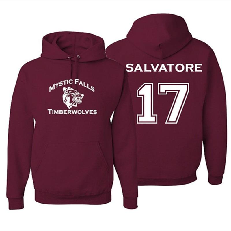 Mystic Falls Timberwolves Vampire Diaries Salvatore 17 À Capuche Femmes Hommes À Manches Longues Polaire Pulls Sweat À Capuche 2018 Nouveau