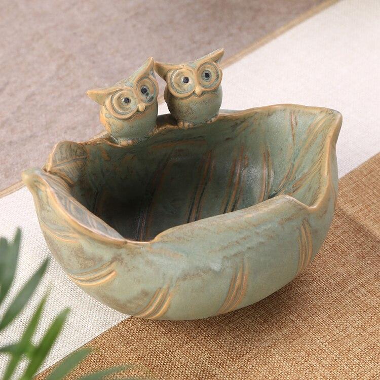 Hibou en céramique Couple Figurines Pot de fleur décoratif porcelaine porte-plante nouveauté ornement cadeau et artisanat pour jardin et balcon