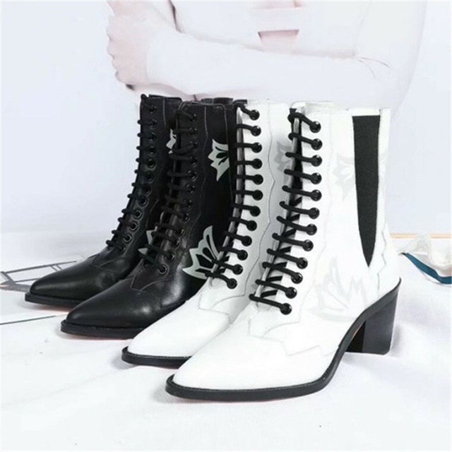 Black White Leather Totem Chelsea Ankle Boots Women Eunice Choo 2018 Autumn  Lace up Pointed Toe Chunky Med Heels Knight Boots 4382eab7ed6c
