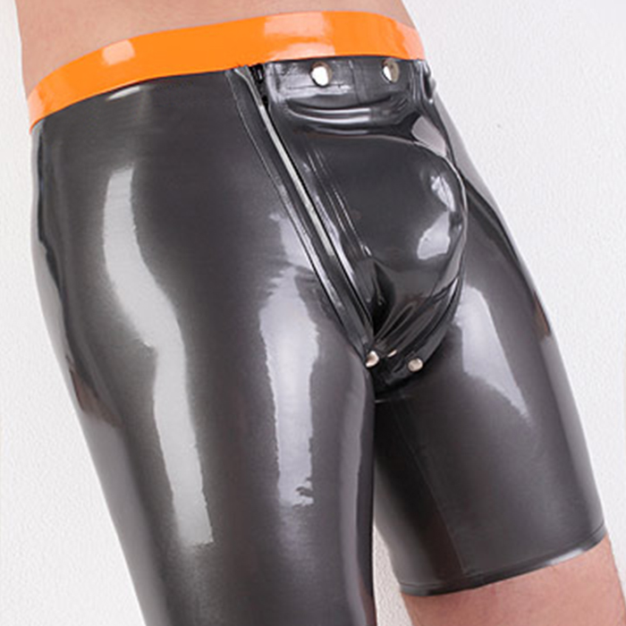 Sexy Mens Black Fetish Latex Short Pants Open Punch Rubber Suits With Zip Men's Exotic Apparel