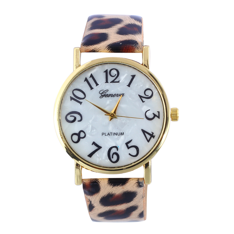 Hot Sale Fashion Women Watch Retro Round Dial Digital Watch  Leopard Print Leather Band Analog Quartz Ladies WristWatch Clock #B