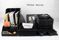 10 unids/set cuero de madera archivo de almacenamiento de escritorio accesorios de papelería y organizador soporte de pluma archivador caja de pañuelos nota caja K203A