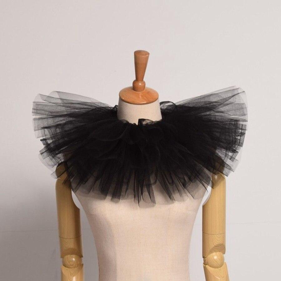 Vintage Victorian amovible jabot col collier noir à volants poignets Set