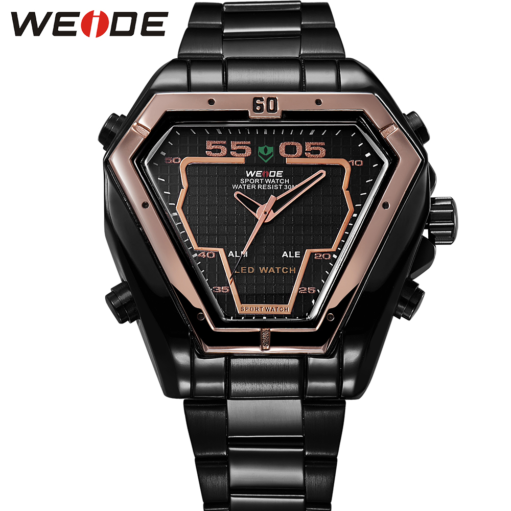 WEIDE Original Brand LED Display Watches Digital Men Sports Military Black Stainless Steel Triangle Men Watch Gifts For Mens weide irregular men military analog digital led watch 3atm water resistant stainless steel bracelet multifunction sports watches