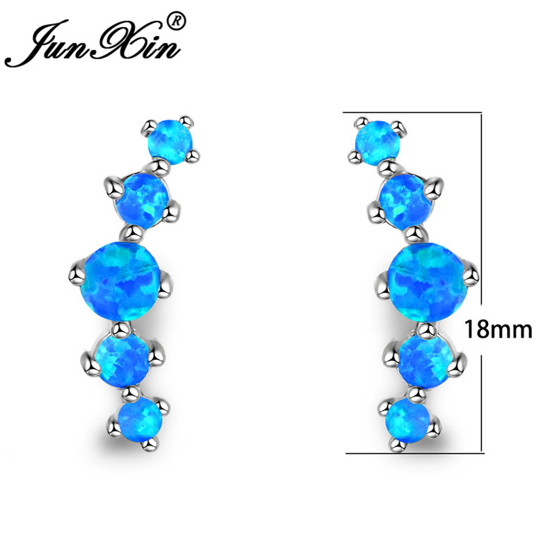 JUNXIN Luxury Blue Fire Opal Stud Earrings For Women Silver Color Round Stone Rainbow Birthstone Earrings Jewelry