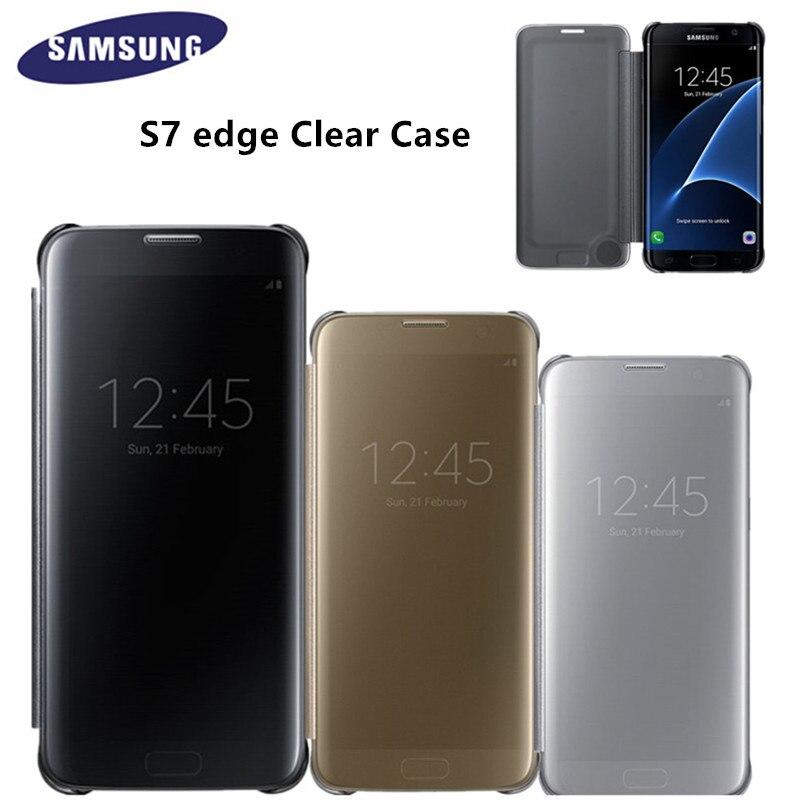 imágenes para Original espejo claro ef-zg935 teléfono s-view smart cover case para samsung galaxy s7 edge con el despertar del tirón delgado