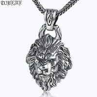 100% 925 Silver Lion Pendant Thai 925 Sterling Man Pendant Hiphop Rock Jewelry Power Lion Pendant Necklace