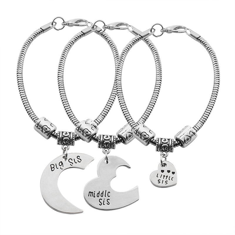 Fashion Women S Sister Bracelet Jewelry 3 Piece Set Middle Little Heart Shape Pendant Rolo Chain Gift In Charm Bracelets From