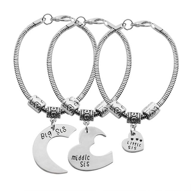 Moda damska siostra bransoletka biżuteria 3 sztuka/zestaw duży środkowy mała siostra wisiorek w kształcie serca Rolo bransoletki i łańcuszki na rękę siostra prezent