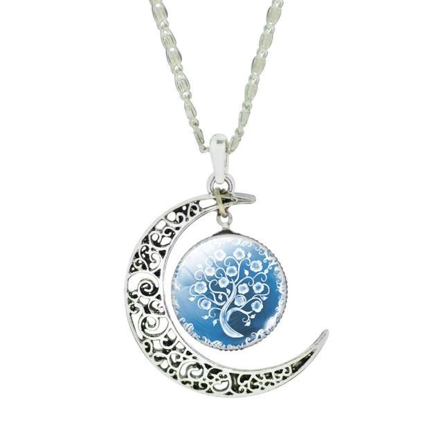 LIEBE ENGEL Women Fine Romantic Silver Color Jewelry Sets Tree Picture Glass Moon Pendant Necklace Stud Earrings Bracelet Set