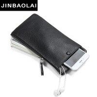 JINBAOLAI 2017 New Design Genuine Leather Wallet Men Fashion Clutch Bag Male Slim Leather Wallet For
