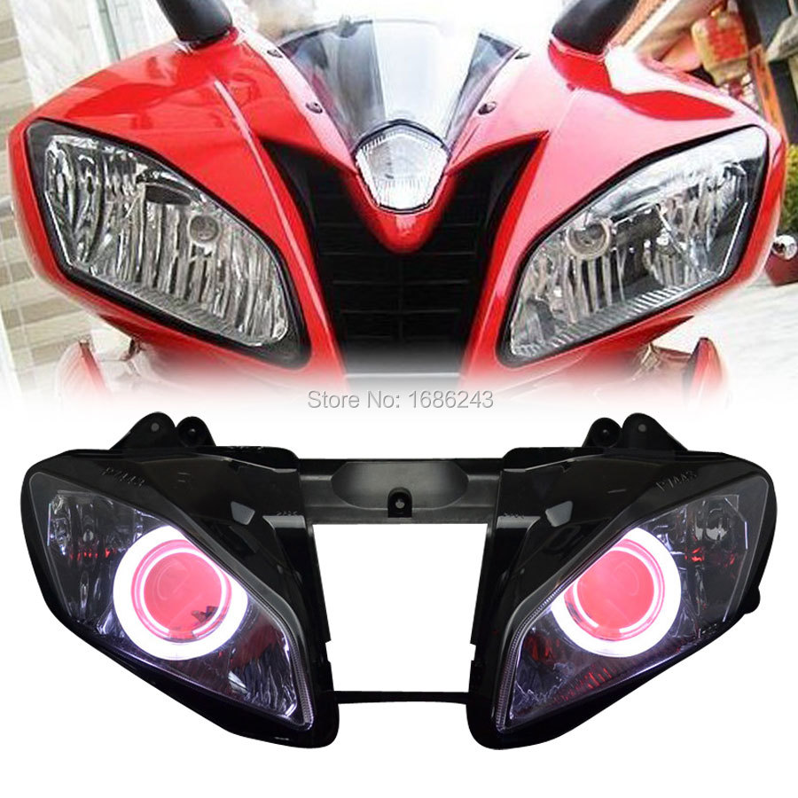 Projector Headlight HID White Angel Red Demon Eyes Front Lamp Fits For Yamaha YZF R6 2006-2007 New