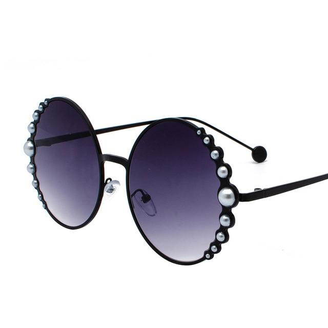 แว่นตากันแดดรอบไข่มุกสีดำผู้หญิงทอง Beach Shades สีแดงส่วนลดแบรนด์กรณีฟรีเรือ