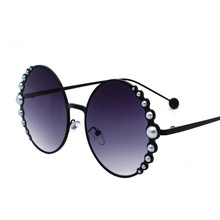 Designer Fashion Sunglasses Round with pearls in Black Gold  Womans Beach Shades in Red Discount hot brand with case free ship